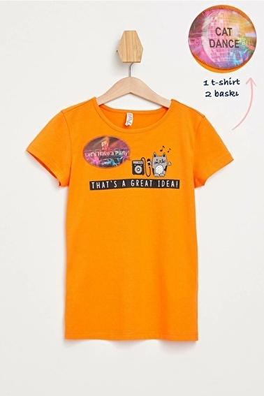 DeFacto Hologram Baskılı Kısa Kollu T-shirt Oranj